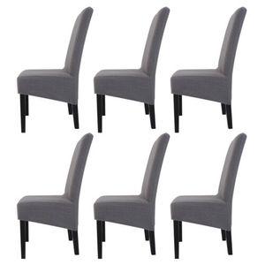 6 Stück Stuhlhussen Stretch Elasthan Stuhlüberzug abdeckung für Esszimmer Hotel Bankett ,Grau