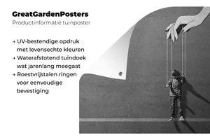 Gartenposter - Marionette Kind - schwarz und weiß - 90x60 cm
