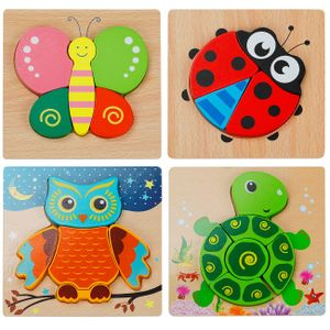 3D Kinder Holzpuzzle Steckpuzzle Holz Montessori Spielzeug Lernspielzeug Pädagogisches Geschenk für Kinder 1 2 3 Jahre,Weihnachten Geburtstag (Tierpuzzle)