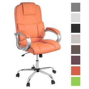 TPFLiving bequemer  XXL Bürostuhl DENVER XXL Chefsessel belastbar bis 210 kg, orange | Wippfunktion | stabile Castor Rollen | hochwertig
