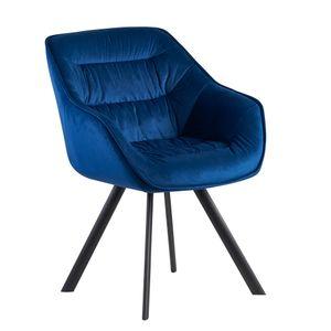 FineBuy Esszimmerstuhl Samt Gepolstert | Küchenstuhl mit Schwarzen Beinen | Moderner Schalenstuhl mit Armlehnen | Design Polsterstuhl Stoffbezug , Farbe Artikel:Blau