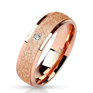 viva-adorno Gr. 58 (18,4 mm Ø) Damen Edelstahl Ring roségold mit diamantierter Oberfläche und Zirkonia RS57