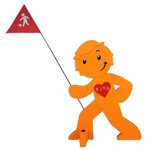 StreetBuddy - Warnfigur, Warnaufsteller, Warnschild für Kindersicherheit (Orange)