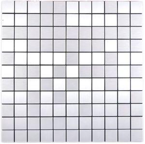 selbstklebende silber metall Mosaikmatte Quadrat Alu Fliesenspiegel Küchenrückwand MOS200-L5S
