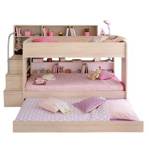 Etagenbett Bibop Akazie 90*200 inkl Bettkasten + 2 Lattenrostplatten + Regale + Leiterpodest Kinderzimmer Spiel Hoch Doppel Stockbett