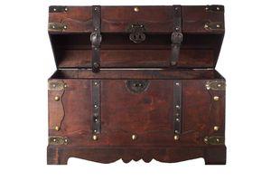 FD0432 Truhe Holztruhe Schatzkiste Kiste Piratenkiste Kolonialtruhe Hochzeitsbox, Größe:Größe L 50cm x 25cm x 28cm
