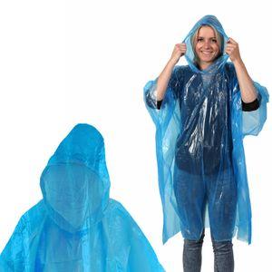 5 Stück Poncho Regen umhang (Transparent Blau) NOTFALL Regenjacke Regencape Regenponcho transparent wegwerf