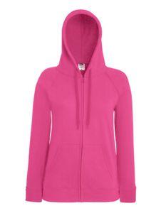 Lady-Fit Lightweight Hooded Sweat Jacket - Farbe: Fuchsia - Größe: M