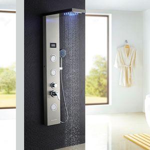 Auralum LED Duschpaneel Regendusche ohne Armatur, Edelstahl Duschset mit Handbrause und Wassertemperatur-Display