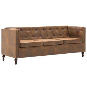 vidaXL Chesterfield-Sofa 3-Sitzer Stoffpolsterung Braun Wildlederoptik