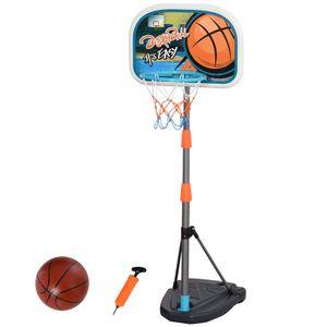 HOMCOM Kinder Basketballständer Basketballkorb einstellbare mit Ständer höhenverstellbar mit Ball & Pumpe Mehrfarbig 32 x 65 x 126-158 cm