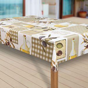 Wachstuch-Tischdecke Wachstischdecke Tischwäsche Abwaschbar Wachstuchdecke  46 , Muster:Oliven Olivenöl grün, Größe:140x140 cm