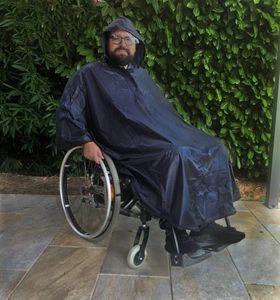 Rollstuhl Regencape Regenponcho Senior ohne Ärmeln, Kapuze Regenschutz Rollator