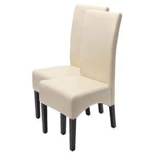 2x Esszimmerstuhl Küchenstuhl Stuhl Latina, LEDER  creme, dunkle Beine