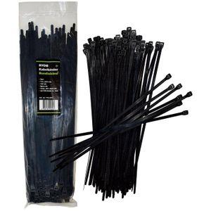 Ryom Kabelbinder 7,6x500mm Schwarzes Nylon UV-Licht beständig, 100 Stück