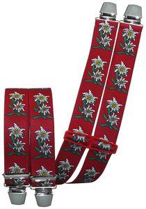 Hosenträger mit 4 extra starken Clips Edelweiß 6 Farben!, Farben:rot