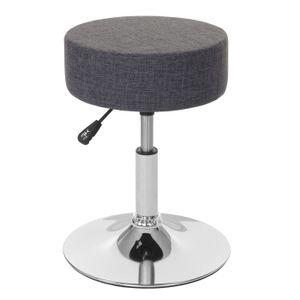 Hocker HWC-C22, Sitzhocker Schminkhocker, höhenverstellbar Ø 35cm  Textil, grau
