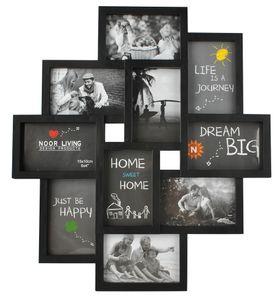 Bilderrahmen Collage für 10 Fotos Bilder Kunststoff 10x15 Familie  6297, Farbe:Schwarz/ black