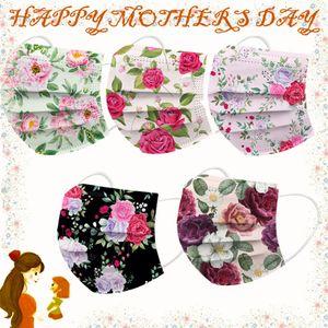 50 Stück Rose Muttertag Einwegmaske Gesichtsmaske Mund-Schutz 3-lagig Gesichtsschutz für Frauen