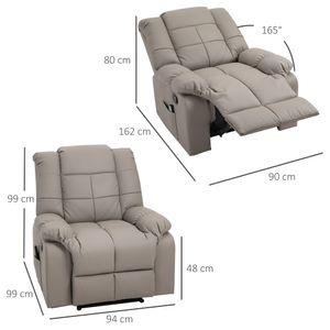 HOMCOM Massagesessel, Fernsehsessel, Relaxsessel mit Massagefunktion, Heizfunktion, Liegefunktion, Kunstleder+MDF+Metall+Schaumstoff, Grau, 90 x 97 x 99 cm
