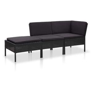 Huicheng 3 Teilig Polyrattan Garten Lounge Set Gartenliegen Eck-Sofa mit Auflagen Schwarz