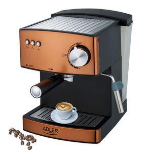Adler Espressomaschine | Kaffeemaschine | Milchaufschäumer | Cappuccinomaschine | Siebträger Espressomaschine | Elektrische Espressomaschine | Bronze Design | 1,6L Wassertank | 850 Watt |15 bar |