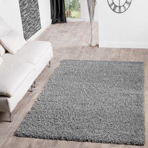 Hochflor Shaggy Teppich Preishammer Uni Einfarbig in Grau Modern, Größe:120x170 cm
