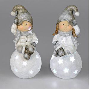 2er Set LED Dekofiguren Winterkinder Junge + Mädchen auf Kugel 25cm Formano W21