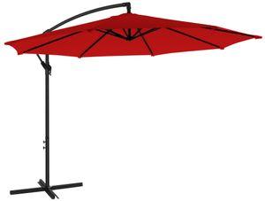 SONGMICS Sonnenschirm, Ampelschirm Ø 300 cm, UV-Schutz bis UPF 50+, mit Kurbel zum Öffnen und Schließen, Sonnenschutz, Gartenschirm, rot GPU016R01