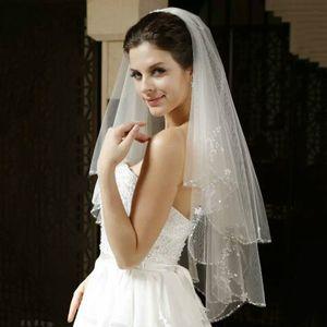 Weiß oder Elfenbein Short Brautschleier mit Kristall Rand mit Kamm 2 wulstigen -(Elfenbein,)
