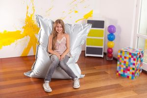 Smoothy 29681555 Sitzsack Metallic Junior Silber 140x110cm