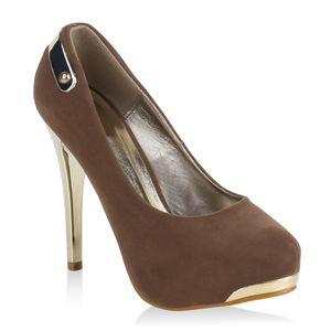 Mytrendshoe Damen Plateau Pumps Stiletto High Heels Party Schuhe Plateauschuhe 74092, Farbe: Khaki, Größe: 37