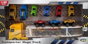 Luna Mega Auto Transporter Truck Lastwagen Frontlenker LKW m. Auflieger 12 Autos
