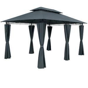 Pavillon Gartenzelt Gartenpavillon Topas 3x4m Seitenteile Metall Wasserabweisend, Farbe:anthrazit