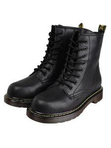 Abtel Damen Leder Leder Einfarbige Stiefel Low Heel Martin Stiefel Schöne Schuhe,Farbe:Schwarz,Größe:39