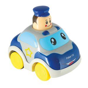 Bieco Drück & Los Flitzer Polizei | Spielzeug Auto mit Aufzieh Mechanismus durch Kopf Herunterdrücken | Rückzug Spielzeugautos ab 6 Monaten | Baby und Kleinkind | Auto Baby 1 Jahr | Aufziehbares