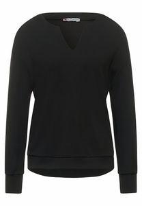 Street One GmbH silk look shirt w.slit at neck Black 38
