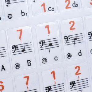 Transparent 37 49 61 Elektronische Tastatur 88 Key Piano Stave Note Sticker Notation Version & Noten fuer White Keys