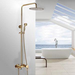 Duscharmatur Duschpaneel Handbrause Regendusche Duschset Bad Duschsystem Duschstange Kopfbrause Dusche Messing(Gold)