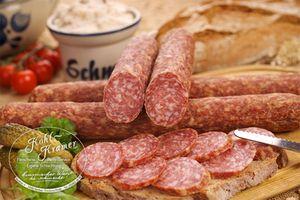 Ahle Wurst nordhessische Spezialität perfekte Geschenkidee – Stracke edel Salami geräuchert am Stück - luftgetrocknete Mettwurst 400g – ausgezeichnet zur besten Wurst 2016 – Die Wurstmacher 400gr