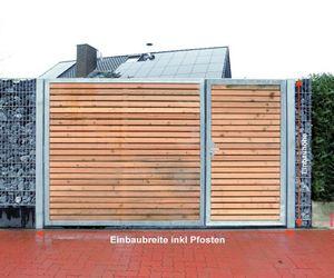 Gartentor Verzinkt Garten Holz-Tor quer Asymmetrisch 2-Flügeltor 300cmx180cm