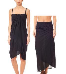 MAUI WOWIE schlichter Pareo Strand-Kleid Rock Bademode Schwarz, Größe:OneSize