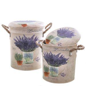 Zwei Sitz Tonnen Lavendel, Hocker Tonne, Landhaus Blech Tonnen mit Hockerdeckel