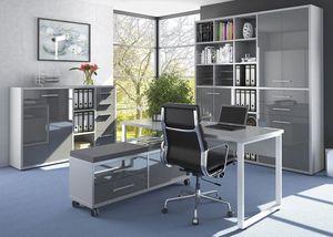 Büromöbel MAJA SET+ in Platingrau / Grauglas (Set 6)