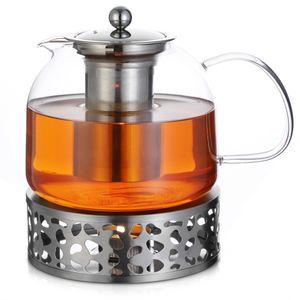 Monzana Teekanne Glas 1,5 L mit Stövchen Siebeinsatz Teebereiter Borosilikat Edelstahl Deckel Sieb spülmaschinengeeignet