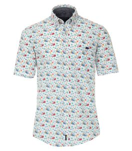 Casa Moda - Casual Fit  - Herren Freizeit 1/2-Arm-Hemd mit Button Down-Kragen (903451400), Größe:XXL, Farbe:Türkis (350)