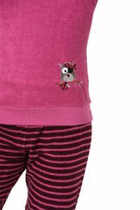 Mädchen Frottee Pyjama Schlafanzug langarm mit Bündchen & Eulen-Applikation - 29140113572, Farbe:pink, Größe:140