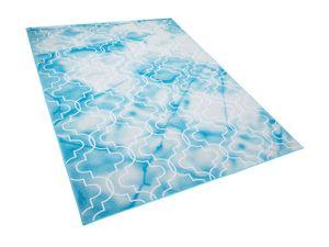 Teppich Blau Weiß Polyester 160 x 230 cm Kurzflor Marokkanisches Muster Bedruckt Rechteckig