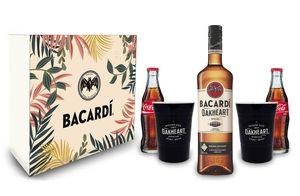 Bacardi Geschenkset - Bacardi Oakheart Spiced Rum 0,7l 700ml (35% Vol) + 2x Becher + 2x Coca Cola je 0,2L - Inkl. Pfand MEHRWEG