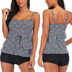 ydance Damen Tankini Sets Badeanzug Zweiteilige Bademode Beachwear Gepolstert,Farbe:Schwarz,Größe:M